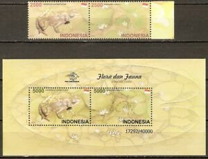 INDONESIA-2011-Mi-No-2966-2969-Block-278-FROGS-PLANTS-2v-1-mnh