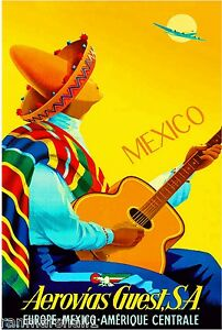 1948-Mexico-by-Clipper-Mexican-Spanish-Vintage-Travel-Advertisement-Art-Poster