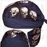 Black-blue Inferno Do Bandana Skull Cap Doo Rag Head Biker Du Hat Mens