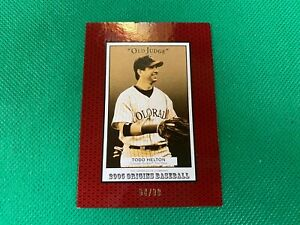 ⭐️👀 2005 Origins Old Judge Red #100 Todd Helton 64/99 Colorado Rockies