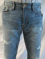 Guess Men Jeans 33 W X 32 Lincoln Distressed Slim Low Straight Brand W/ Tags