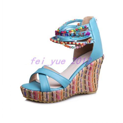 Womens Summer Glitter Bead Peep Toe High Wedge Heels Platform Zip Sandals Pumps