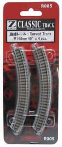 Rokuhan R005 R145mm 45º Curved Track 4 pcs 1/220 Z scale New Japan