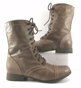Steve-Madden-Stone-Leather-Troopa-Lace-Up-Ankle-Boots-Womens-Size-US-5-5M