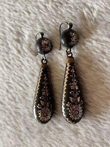 Georgian Victorian Pique Pear Drop Gold Silver Inlay Hook Earrings Jewellery