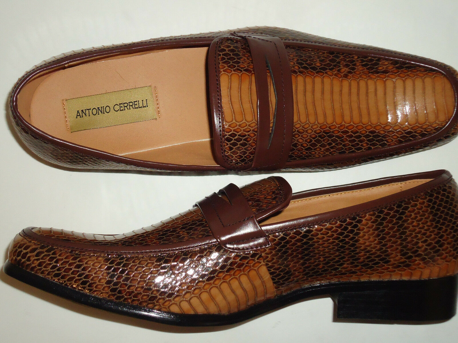 Antonio Cerrelli 6494 Mens Rich Browns Snake Look Dressy Loafers Slip On shoes
