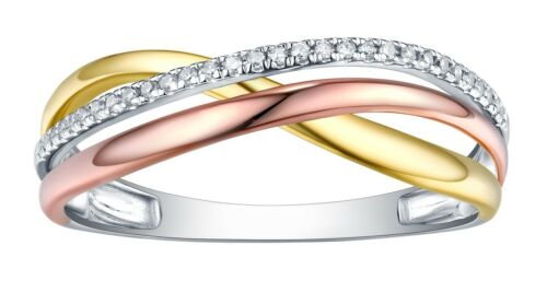 Prisme Jewel 0.80 mm 0.07 TDW G-H//I1 Diamant Naturel Multi-Tone Gold Fancy Ring