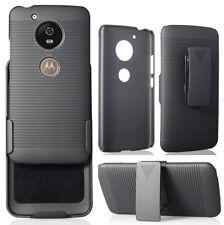 Black Rubberized Hard Case Cover Belt Clip Holster Stand for Motorola Moto G5