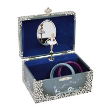 JewelKeeper Girls Musical Jewelry Storage Box With Twirling Ballerina Blue New