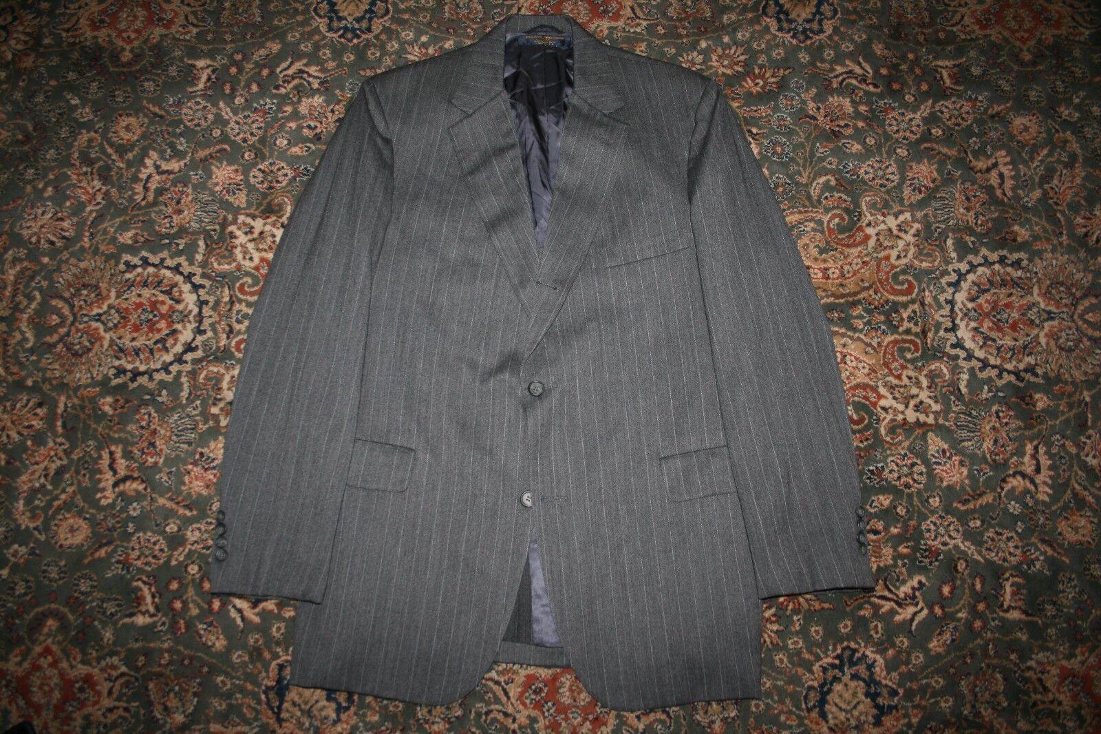 VINTAGE TRAD Brooks Brothers 346 grau Pinstripe Wool 3/2 Roll Wool Suit 43 L