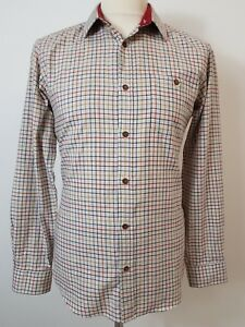f580c1330 Image is loading Mens-Beige-Red-amp-Blue-Check-Shirt-by-