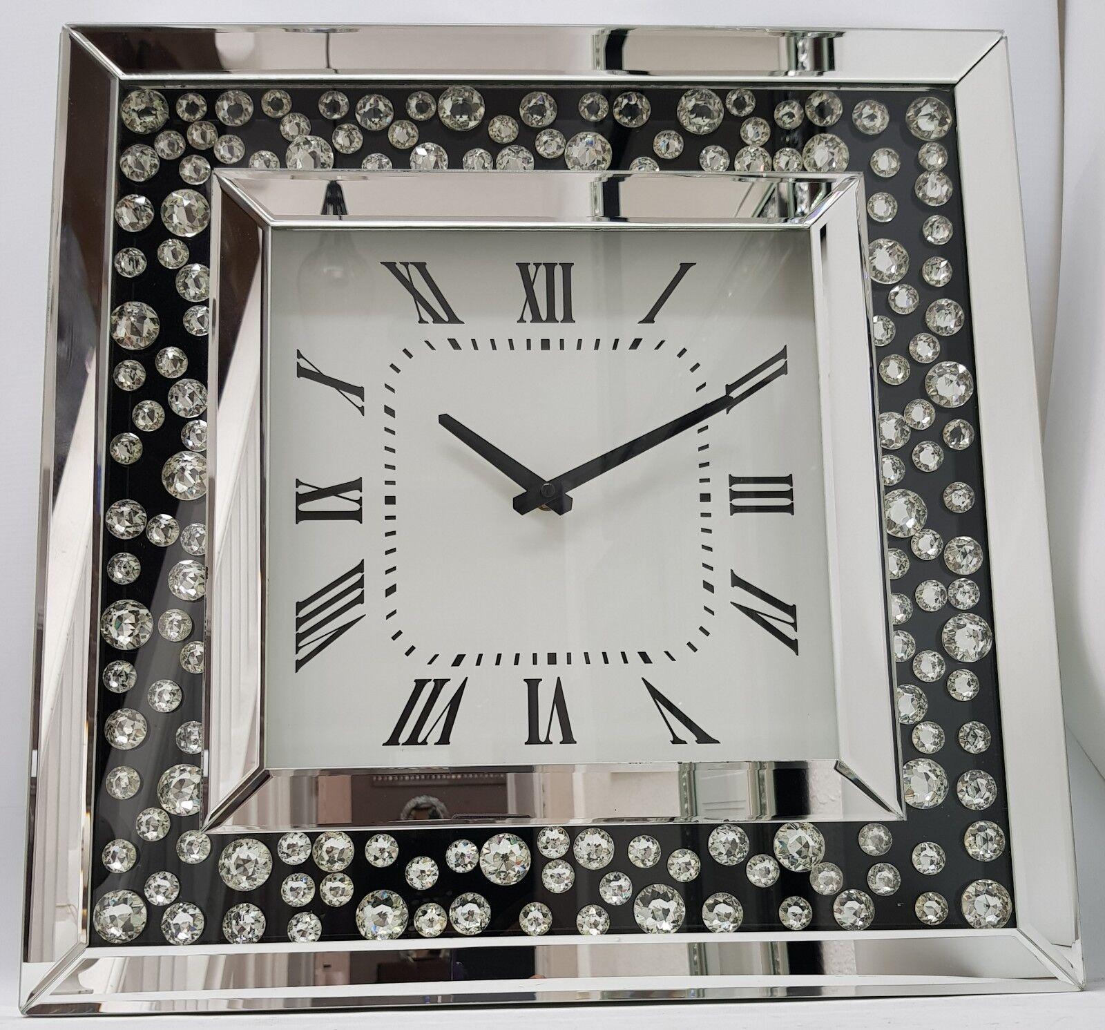 Große silberne funkelnde schwarze Inlay Floating Crystal Wall Clock