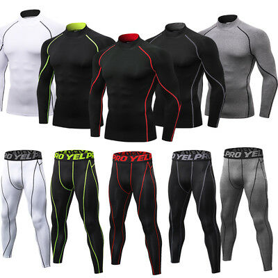 Men/'s Compression Cool Dry Legging Shirt Gym Workout Base Layers Quick-dry Set