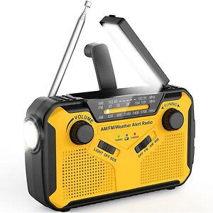 Solar Radio Hand Crank Emergency Weather Alert Radio AM/FM/WB Radio Power Bank