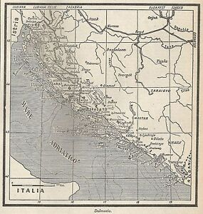Dalmazia Cartina Geografica.A4857 Dalmazia Carta Geografica Antica 1953 Old Map Ebay