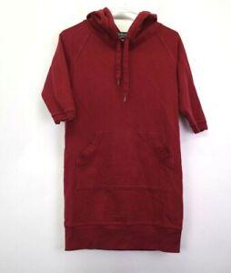 Norma-Kamali-Women-039-s-Small-Half-Sleeve-Pocket-Hooded-Tunic-Sweatshirt-Red