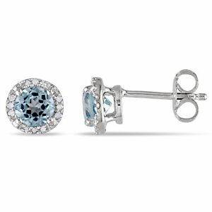 Amour Sterling Silver 1ct TGW Blue Topaz and Diamond Halo Earrings