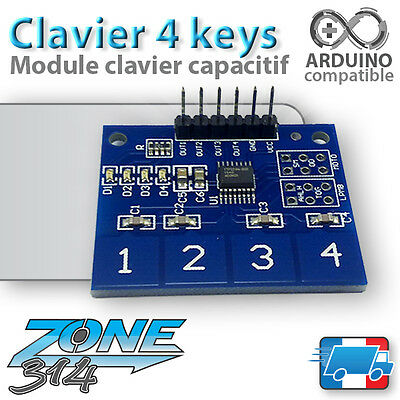 Module Arduino Clavier Tactile 4 touches - TTP224 ( Digital Touch Sensor )