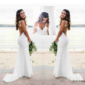 Image Is Loading Y Open Back Wedding Dresses Spaghetti Lace Mermaid