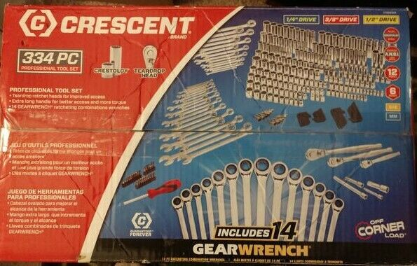 Crescent 334pc 1 4  3 8  1 2  Sockets Ratchets Extensions 14pc Gearwrench Set