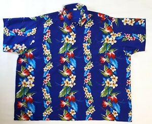 c91acfa4 Mens Hawaiian Shirt XXXL Rima Lightweight Silky Blue Purple Hibiscus ...