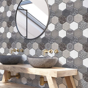 Details About 3d Pvc Wall Sticker Mosaic Tile Wallpaper Bathroom Kitchen Decor Waterproof Chy