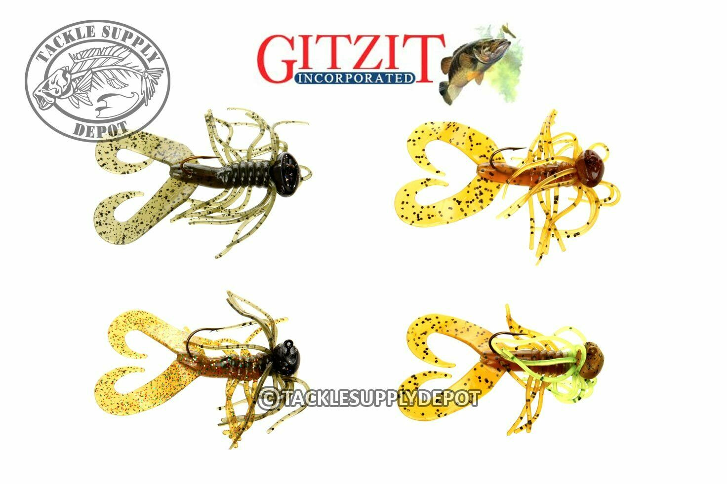 Gitzit Spider Jig Twin Tail Grub 3in 1//4oz 2pk Pick