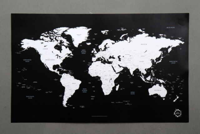 Black and white world map unique design poster print traveler ebay bg black and white world map poster unique design poster gumiabroncs