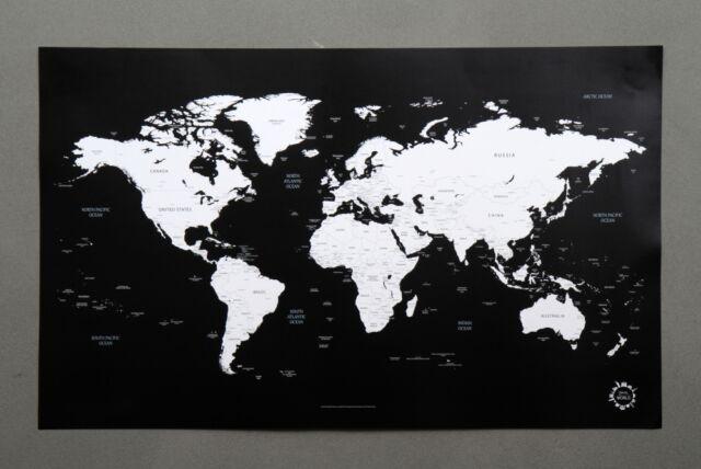 Black and white world map unique design poster print traveler ebay bg black and white world map poster unique design poster gumiabroncs Gallery