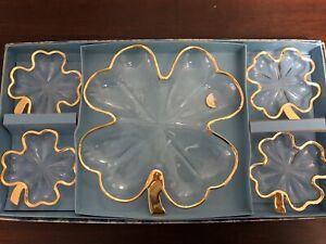 Vintage-Jeannette-4-Leaf-Clear-Glass-Gold-Trim-Serving-Dishes-Org-Box