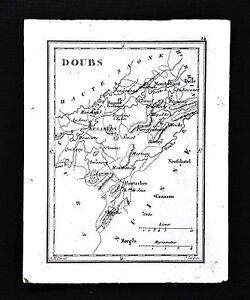 1833-Perrot-Tardieu-Miniature-Map-Doubs-Besacon-Pontarher-Montbehard-France