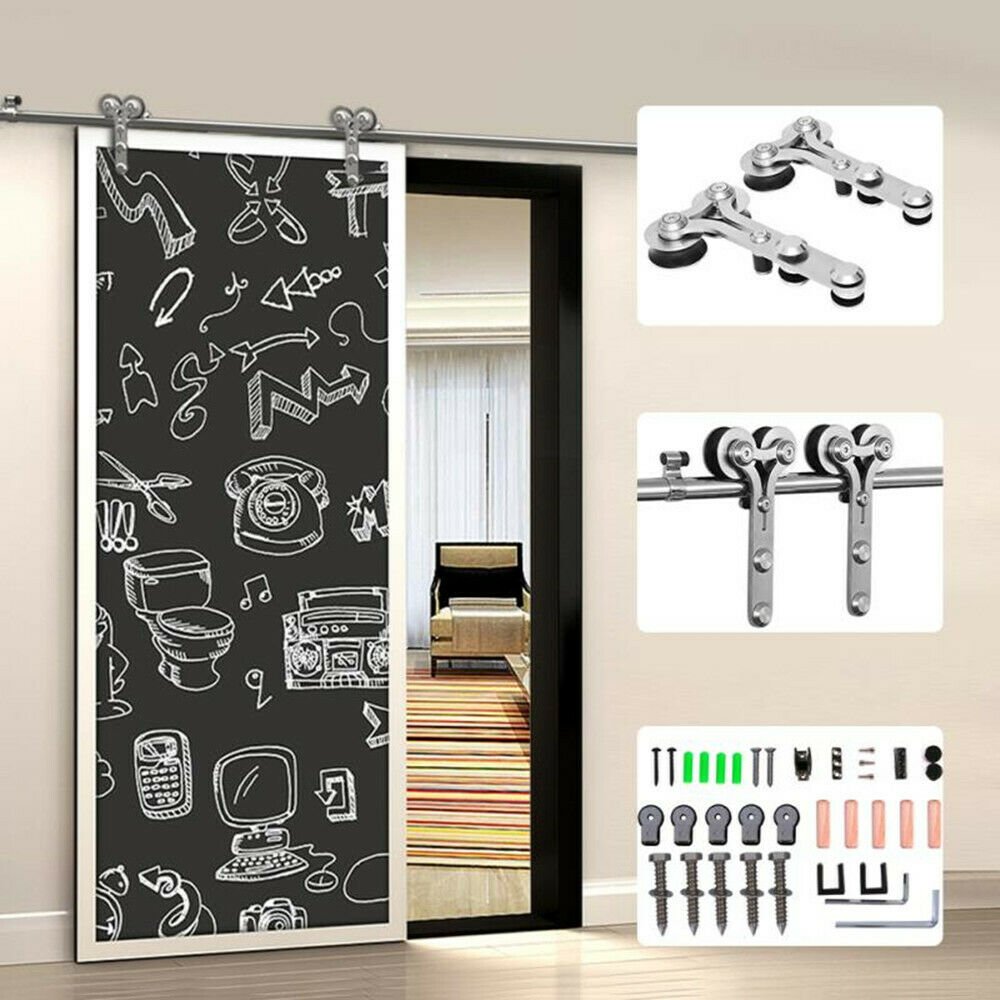 CCJH Stainless Steel Sliding Barn Wood Door Hardware Kit Single Double, 4FT-20FT