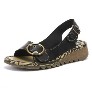 ae60a947be168 Image is loading Fly-London-Tram-Womens-Black-Leather-Wedge-Sandals-