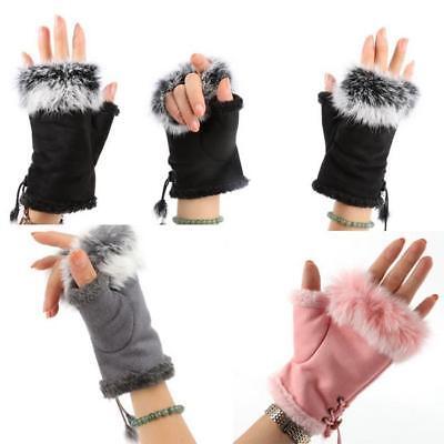 Women Girl Winter Soft Plush Half Finger Fingerless Warm Gloves KV