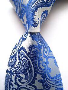 USA-Classic-Paisley-Blue-JACQUARD-WOVEN-Men-039-s-Tie-Necktie