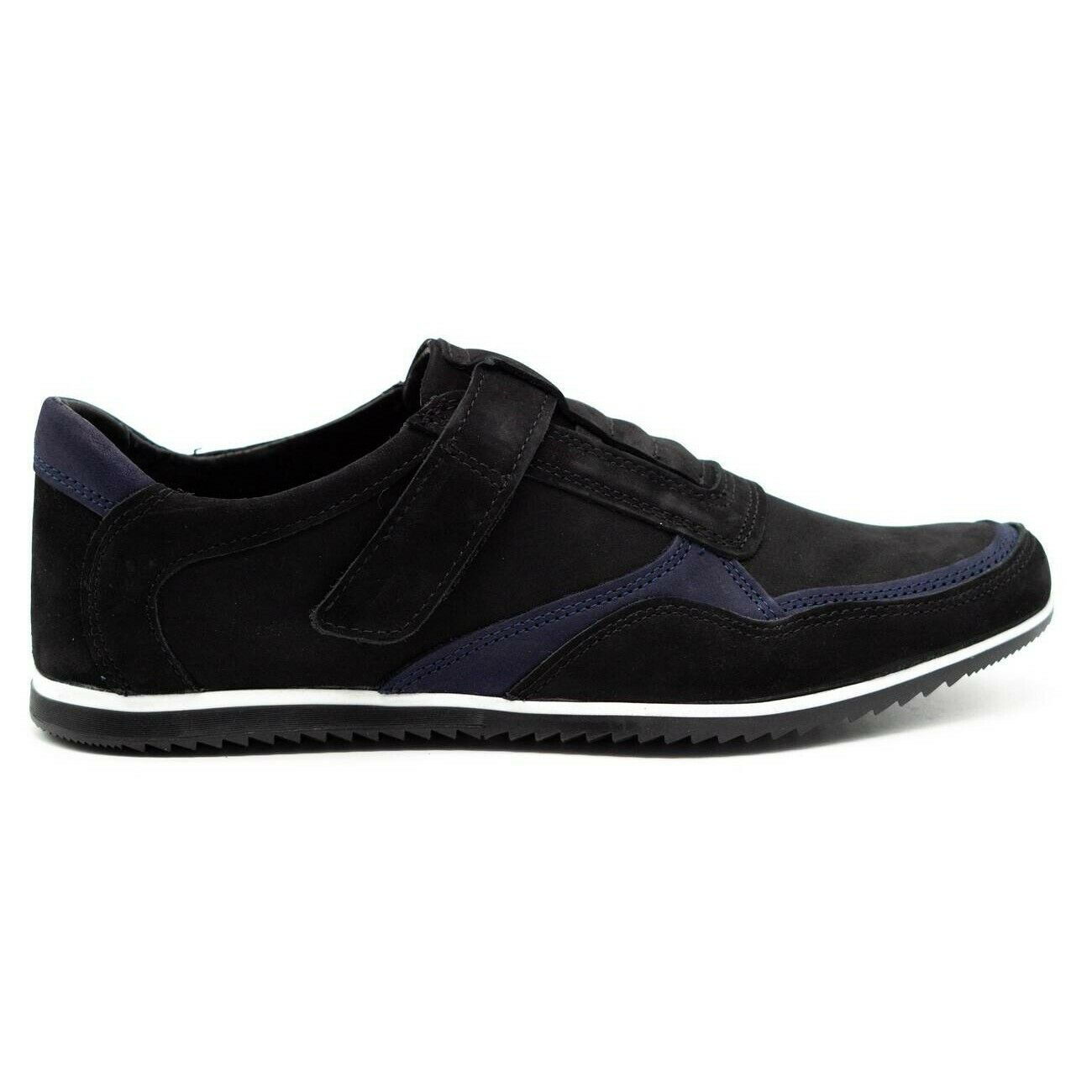 Polbut Men's casual leather shoes 2102/2 black with navy blue