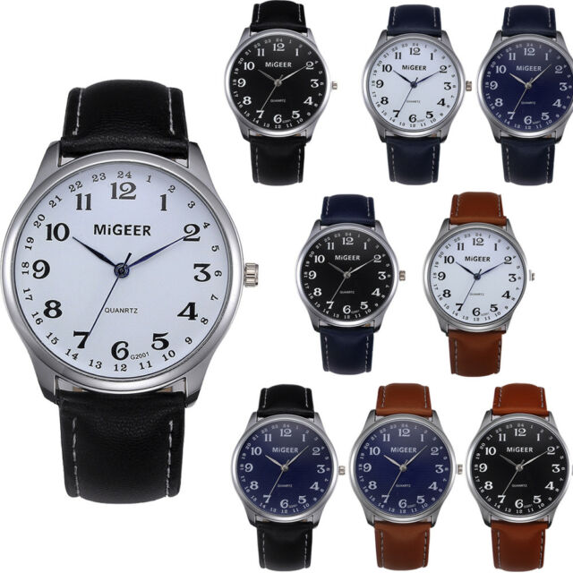 Fashion Casual Men's Watch Stainless Steel Leather Strap Watch