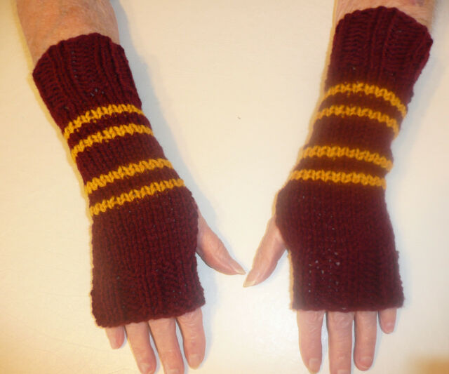 Harry Potter Inspired Fingerless Gloves/Wrist Warmers- Gryffindor Colors