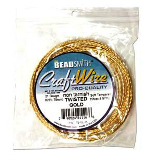 GOLD Beadsmith 18 Gauge Square TWISTED CRAFT WIRE 8 Feet