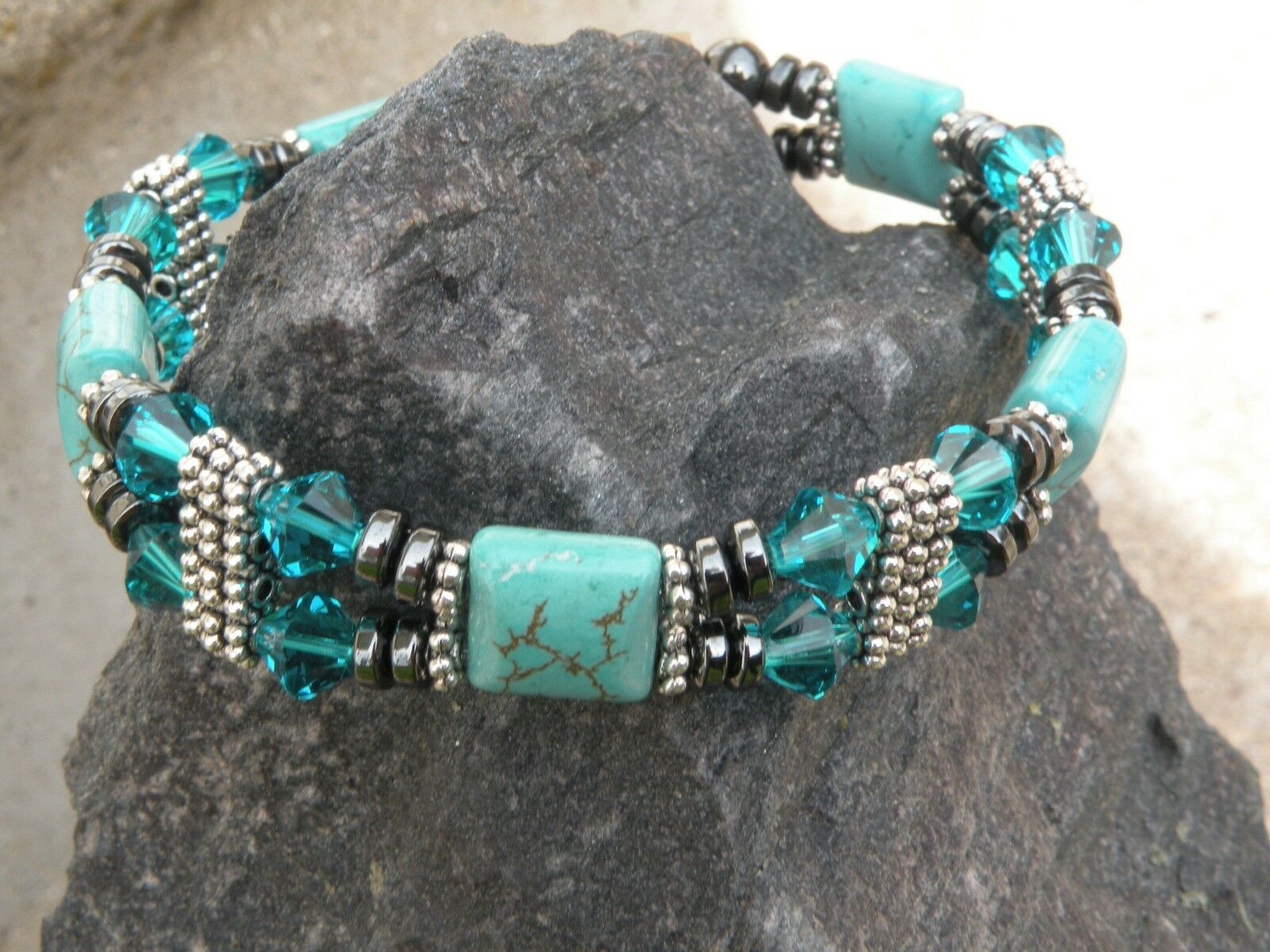 Women's Magnetic Bracelet Anklet Chalk Turquoise w bluee Zircon SWAROVSKI 2 Row