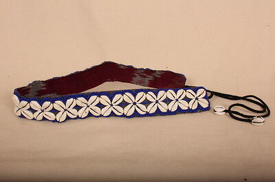 """Summer Fashion //Festival Colourful BLUE Beaded Cowrie Shell Belt 29 /""""+12/"""" ties"""