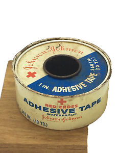 Vintage-Antique-Tin-JOHNSON-amp-JOHNSON-RED-CROSS-1-Adhesive-Tape-Tin-empty