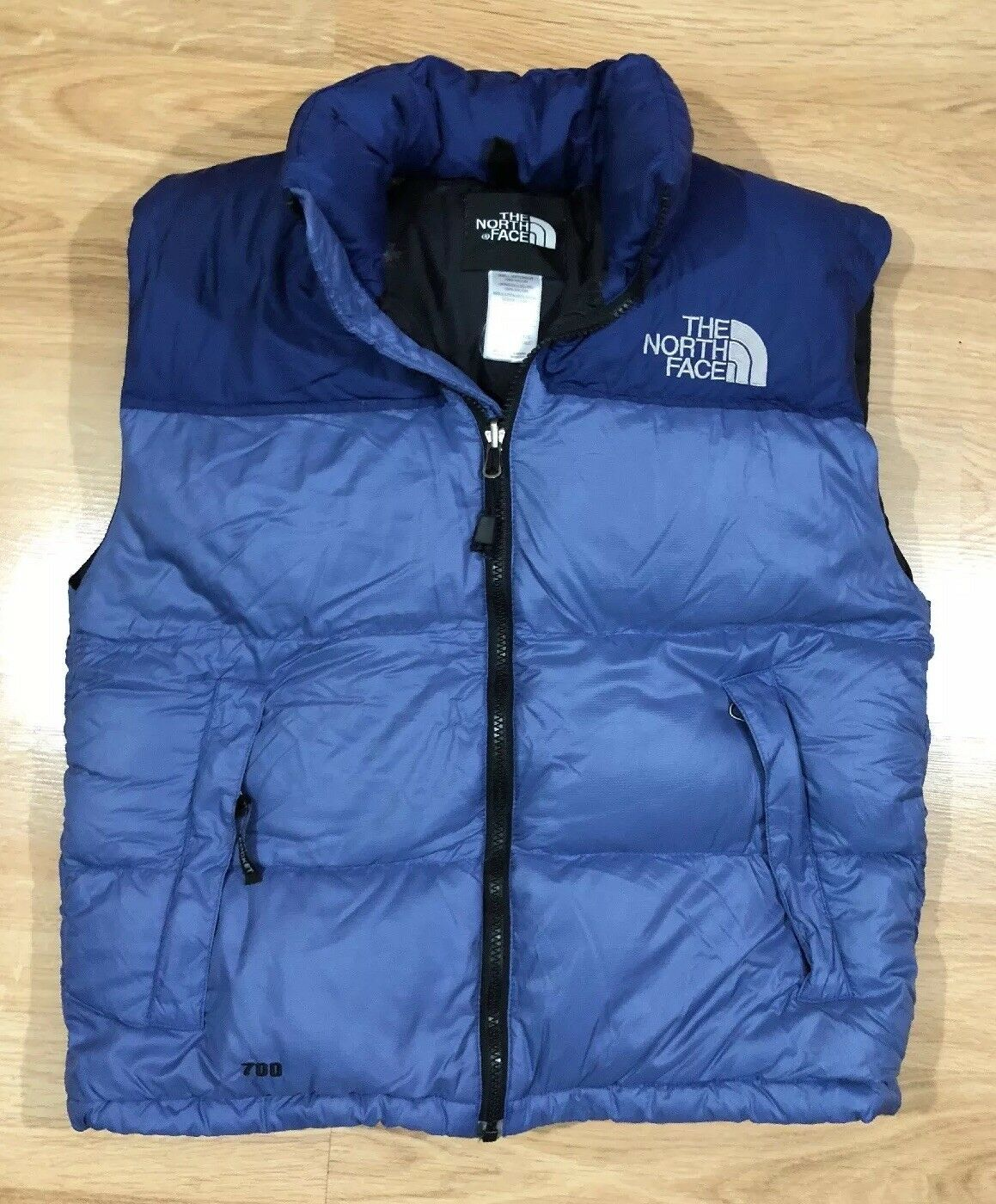 Womens NORTH FACE Down 700 Vest Size Small bluee Warm