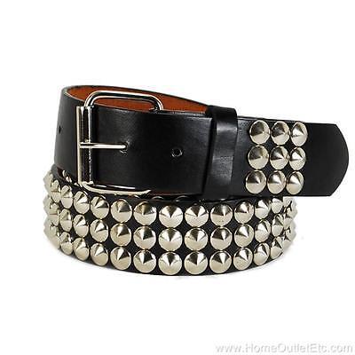 3-Row Metal Round Cone Stud Leather Belt Spike Unisex Punk Rock Goth Emo Biker