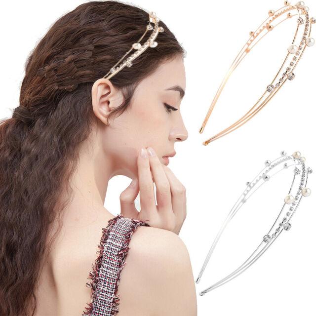 Women Girl's Crystal Headband Pearl Hairband Hair Band Hoop Accessories Party