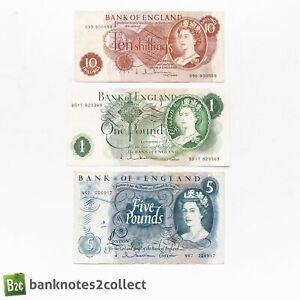 ENGLAND: Set of 3 English Pound Banknotes. Hollom.