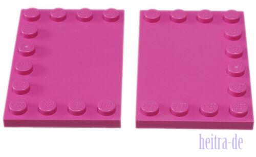 x8 Platte 4x6 mit Noppen am Rand dunkelpink 6180 NEUWARE 2 x Fliese LEGO