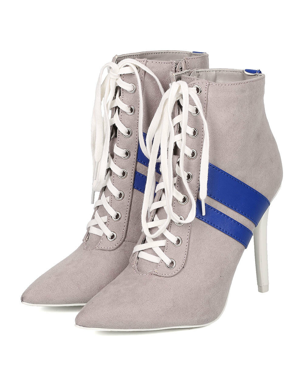 New Women Milia-58 Faux Suede Pointy Toe Lace Up Sportu Stiletto Bootie