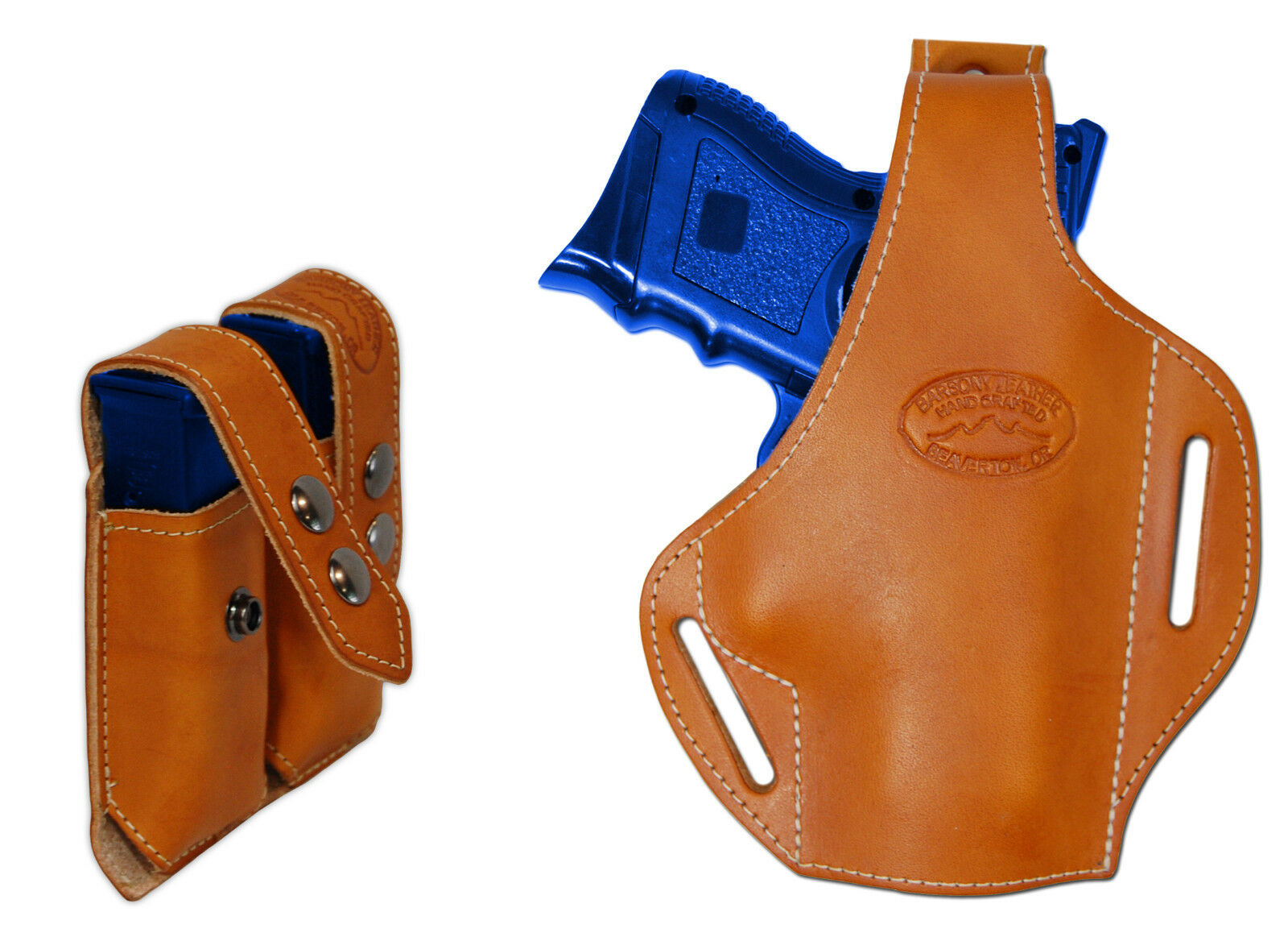 Nuevo Bronceado cuero panqueque Funda Pistola + Dbl Mag Pouch Para s&w m&p Comp 9mm 40 45