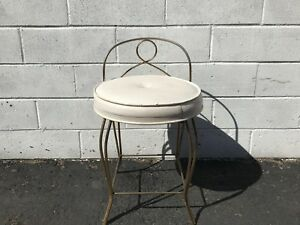 Vanity-Stool-Chair-Bench-Seat-Hollywood-Regency-Antique-Gold-Makeup-Chair-Gold